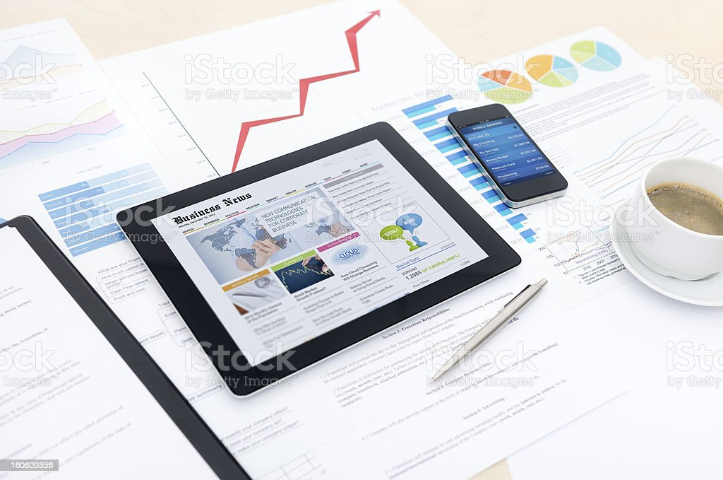 Modern business with new technologies stock photo