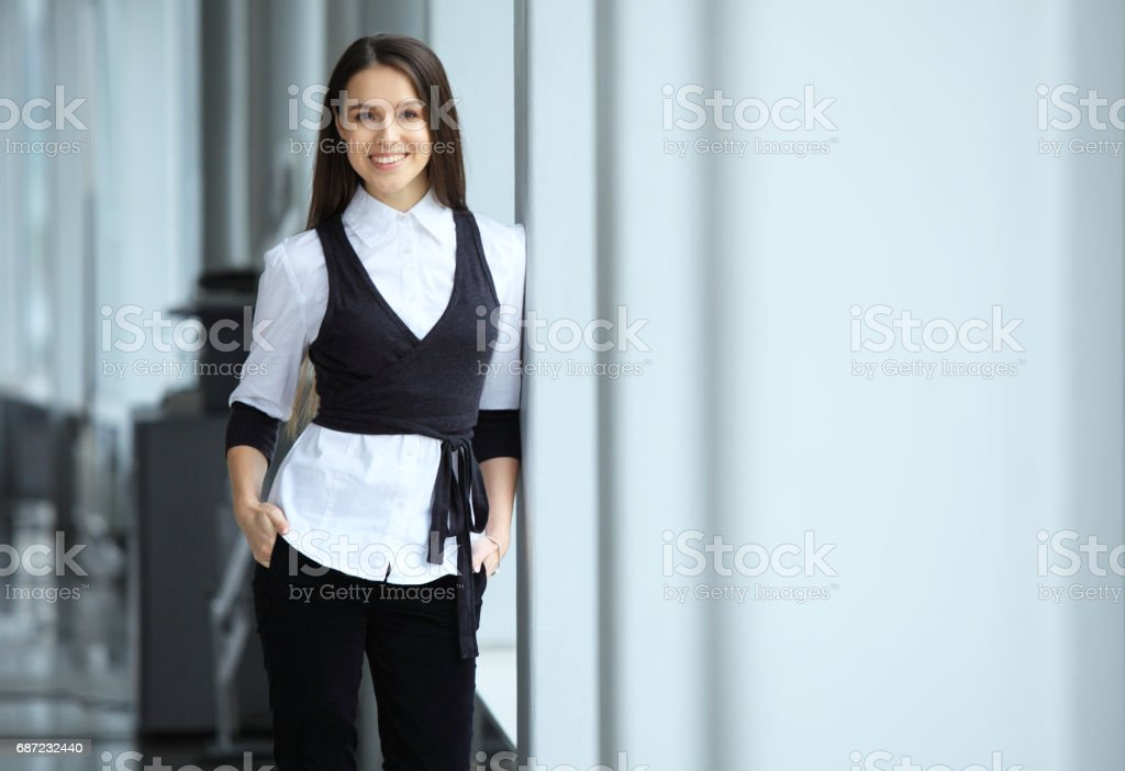 Modern business woman in the office stock photo