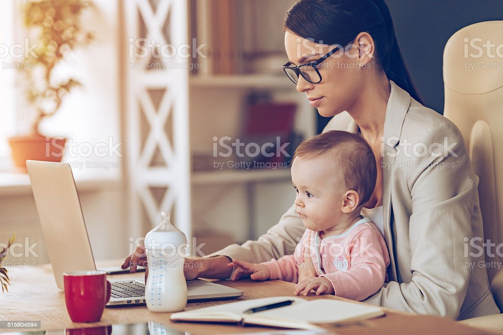 Modern businesswoman can manage everything. stock photo
