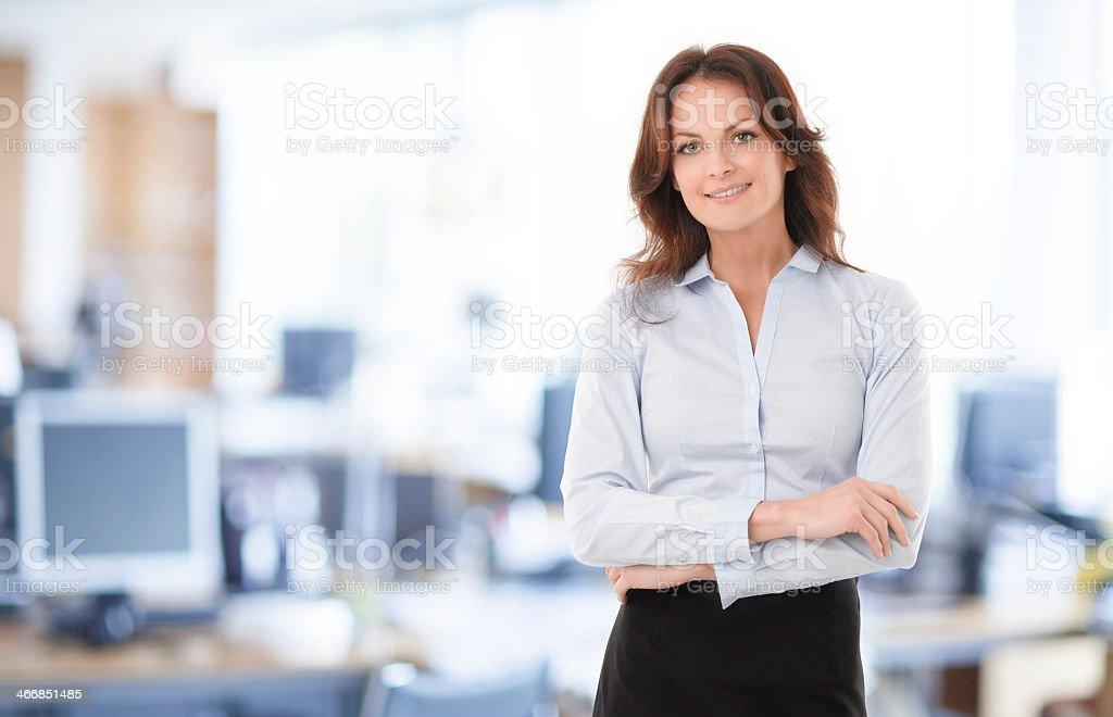 Modern businesswoman poses for portrait stock photo