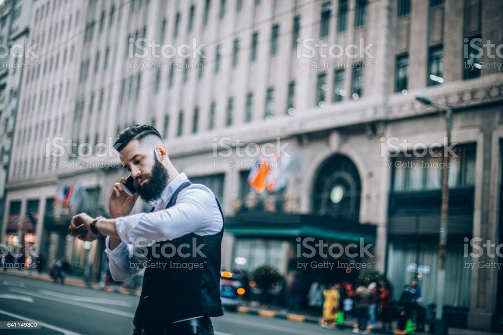Modern busy man stock photo
