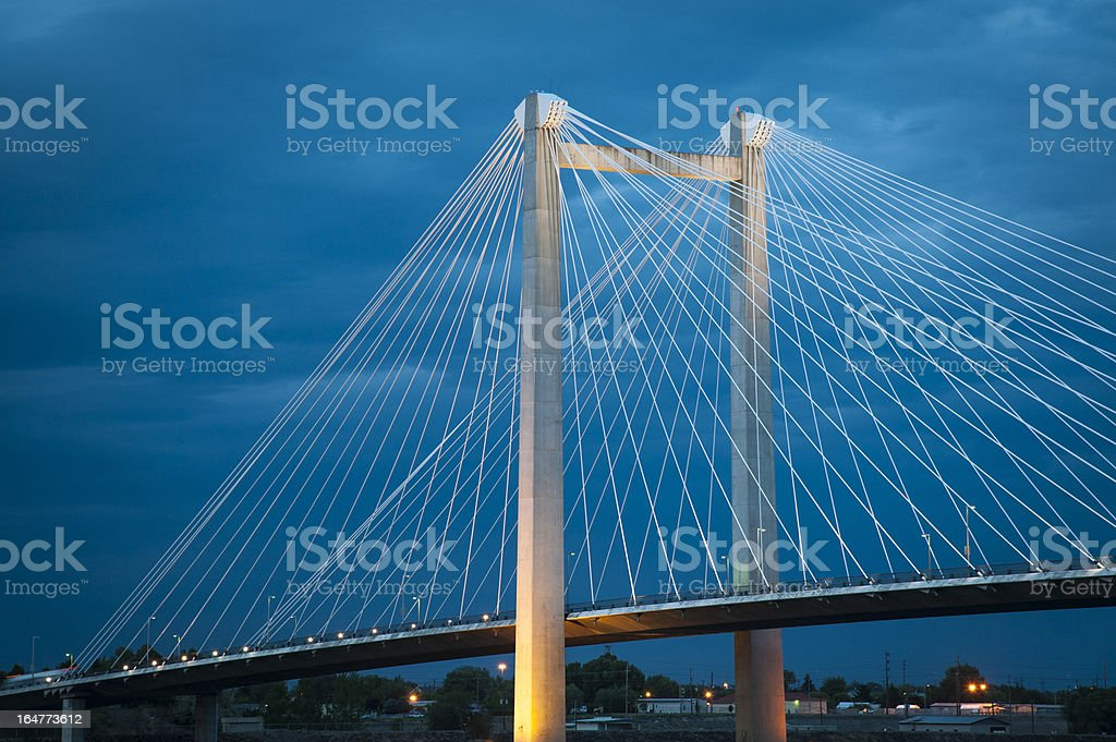 Modern cable bridge over the Columbia River stock photo