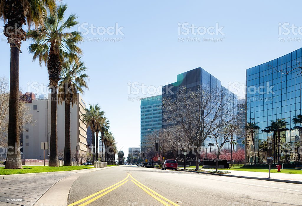 Modern California Office building towers with empty street stock photo
