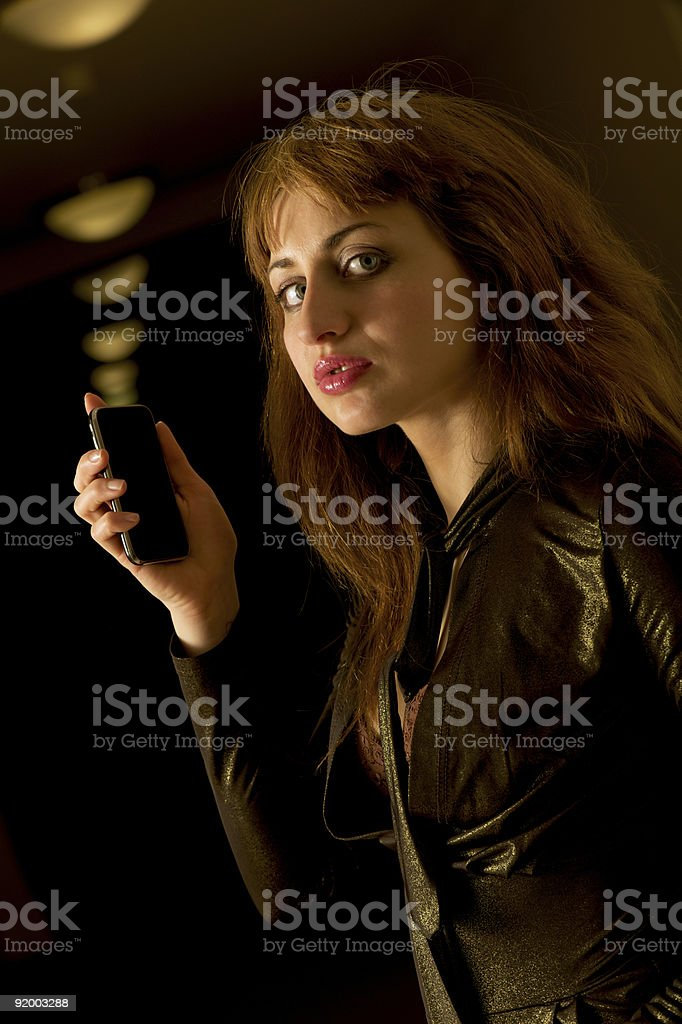 Modern calling girl royalty-free stock photo