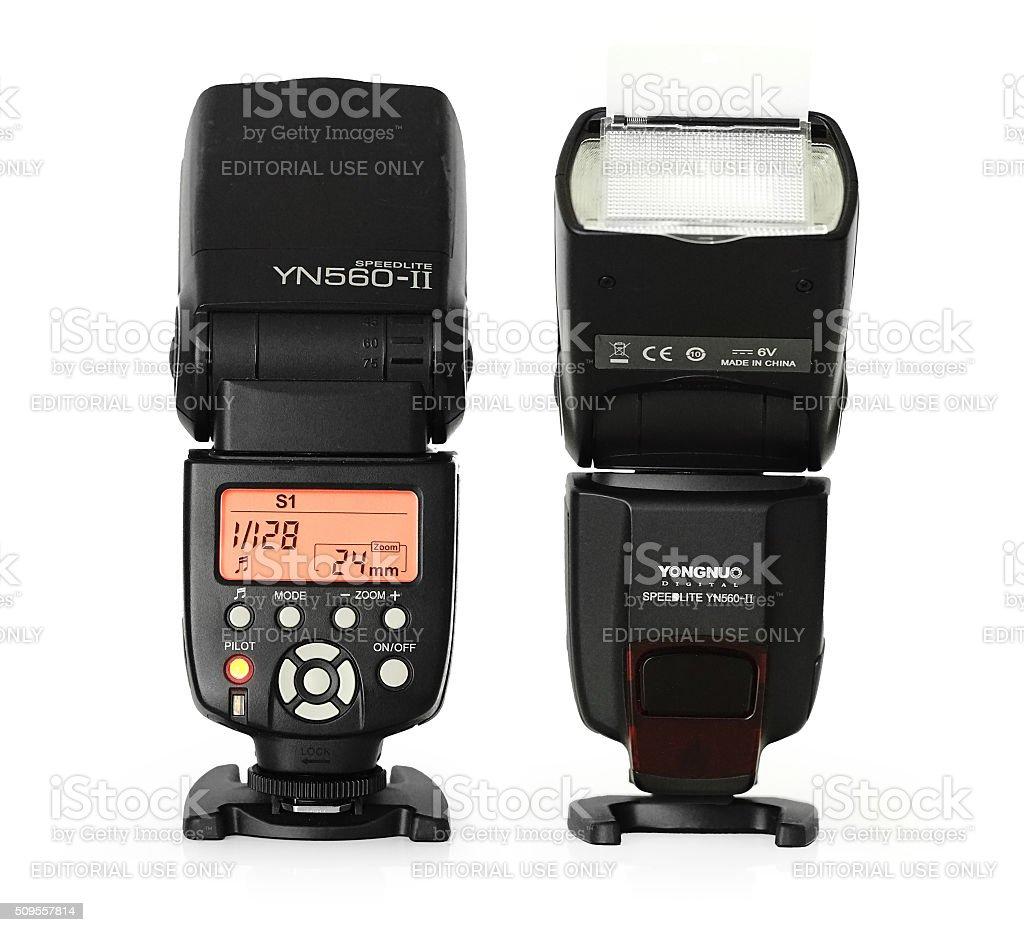 Modern Camera accessorie flash unit stock photo