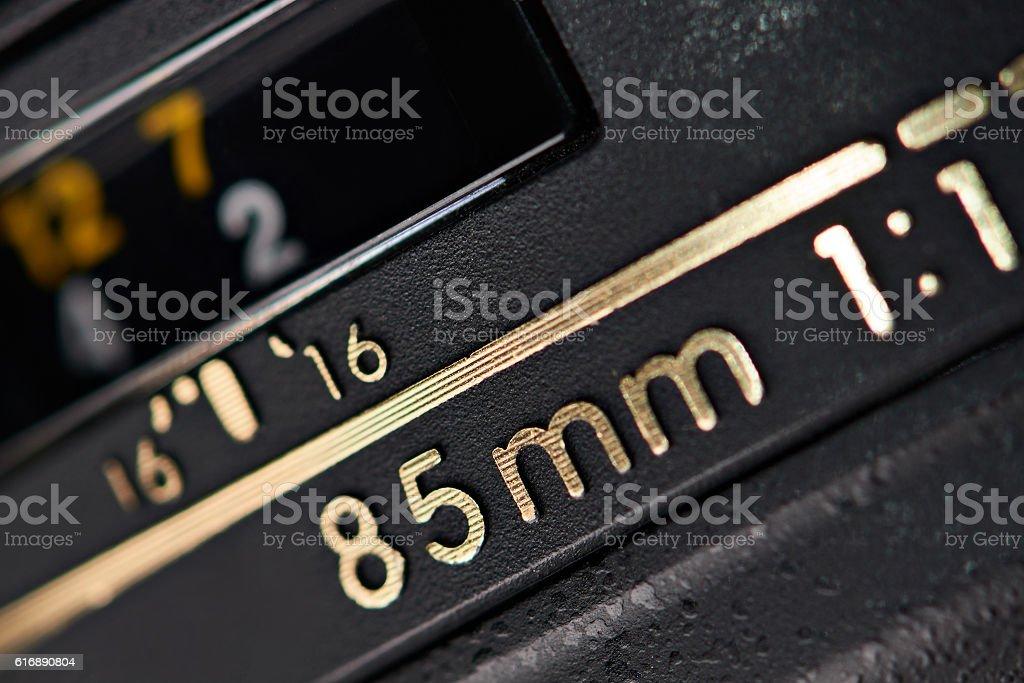 Modern camera lens closeup stock photo