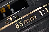 Modern camera lens closeup