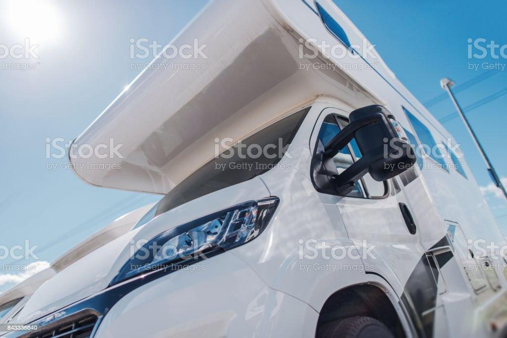 Modern Camper Van in Sun stock photo