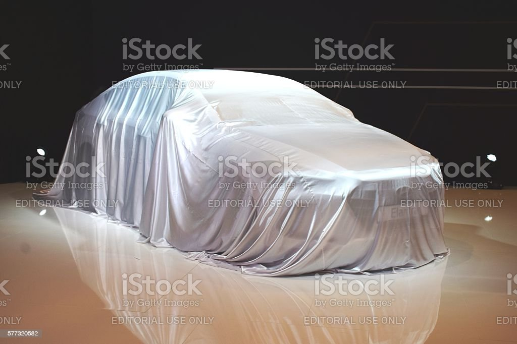 Modern car before the premiere stock photo