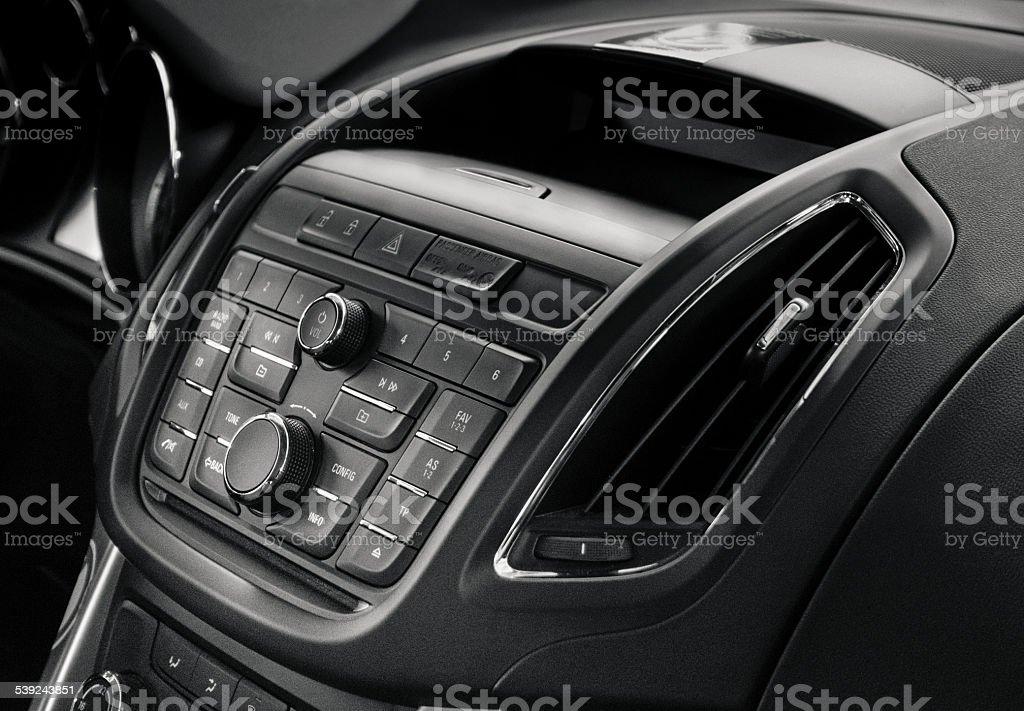 Modern car centre console / car interior stock photo