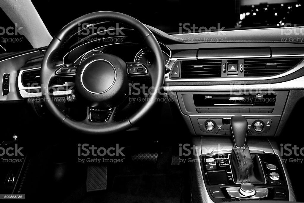 modern car cockpit stock photo