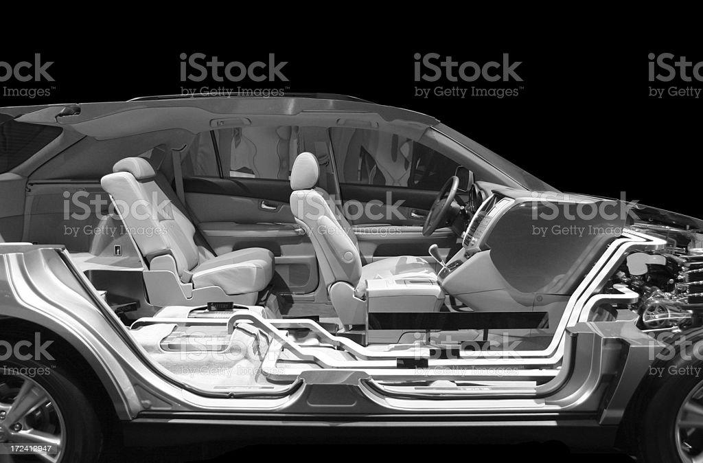 Modern car, cut in half. stock photo