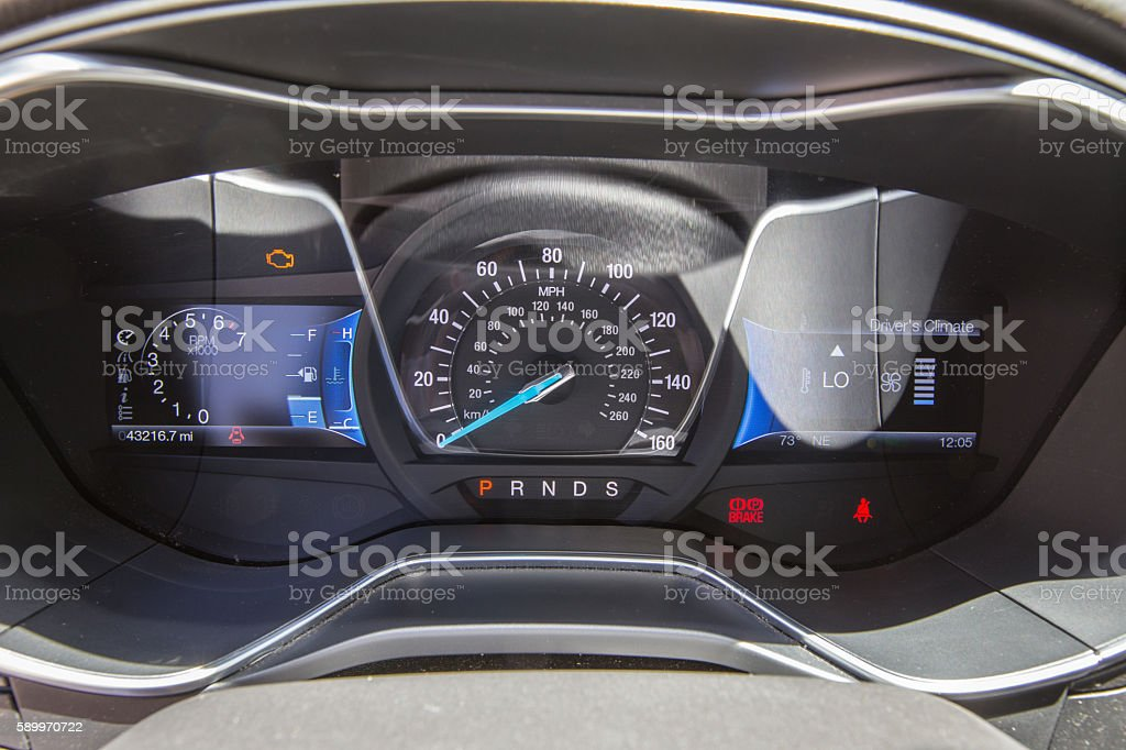 Modern car dashboard turned on stock photo