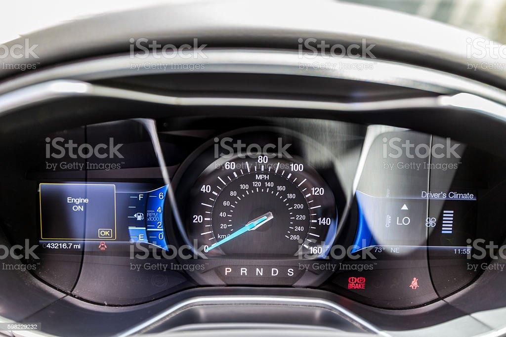 Modern car dashboard turned on stock photo