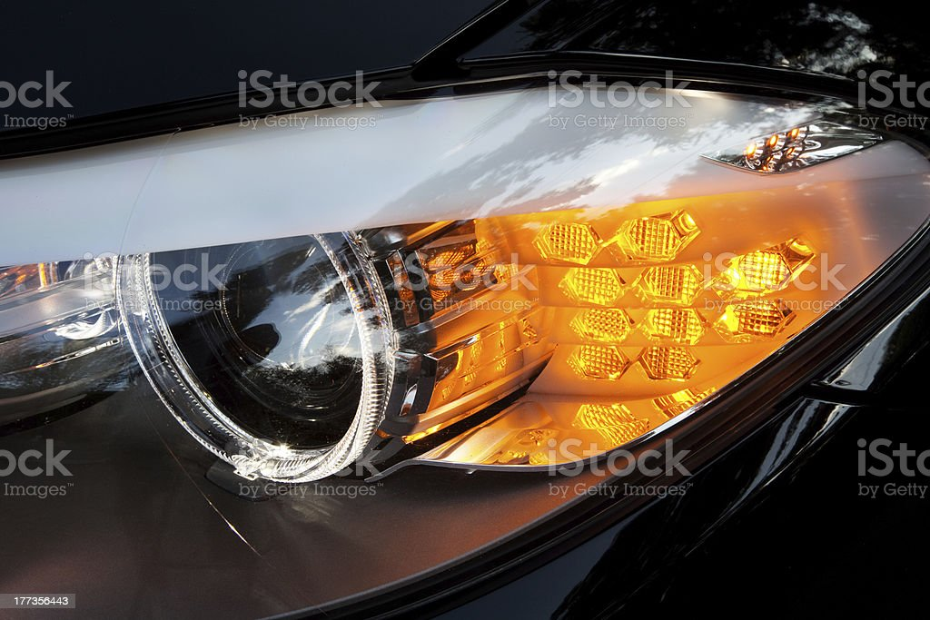 Modern car headlights stock photo