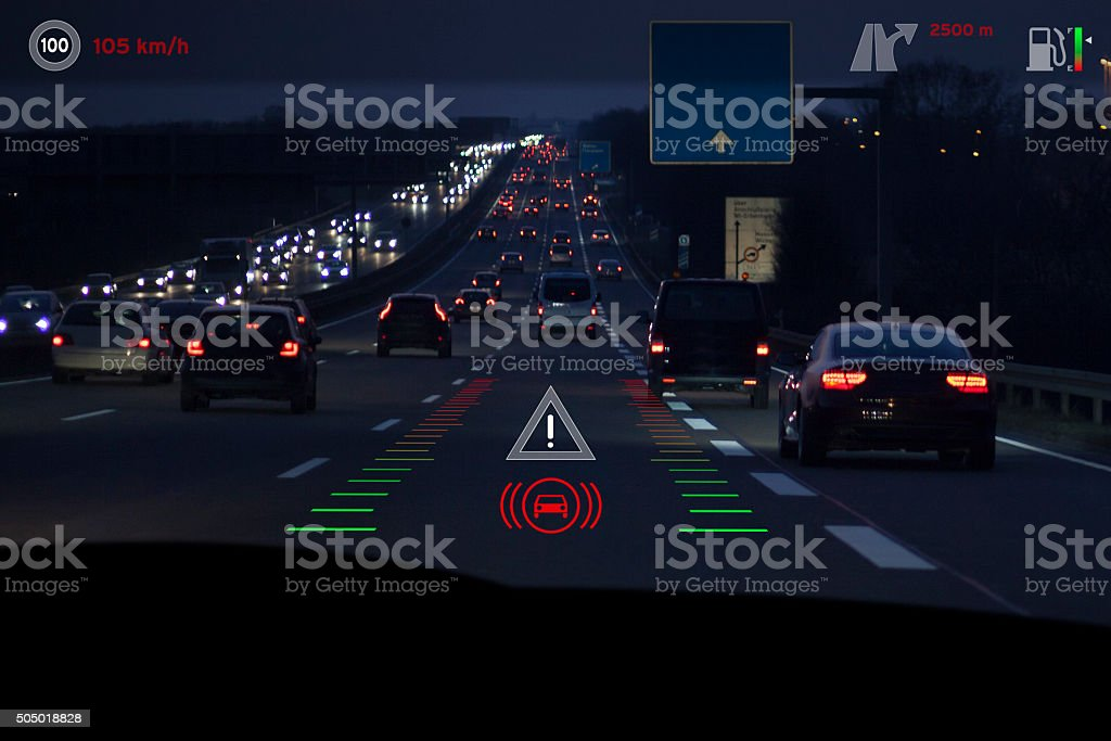 Modern car headup display windscreen projection dusk stock photo