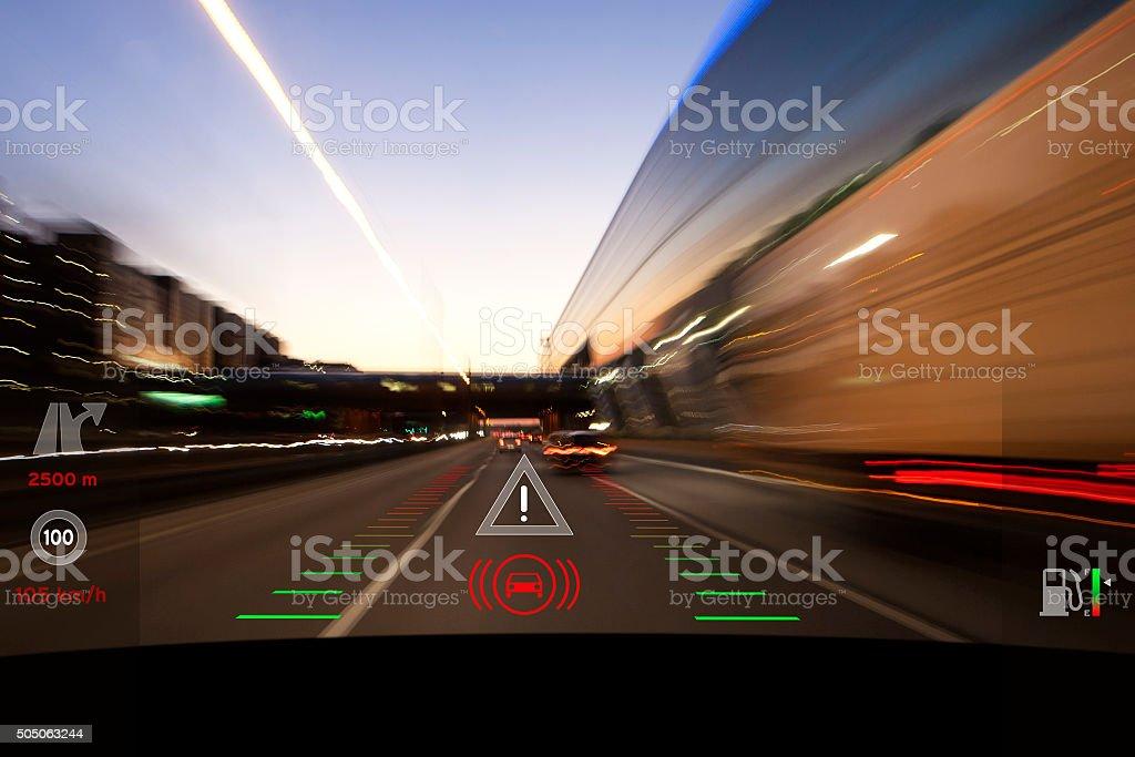 Modern car headup display windscreen projection stock photo