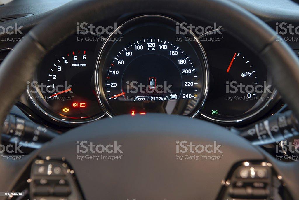 Modern car illuminated dashboard closeup royalty-free stock photo