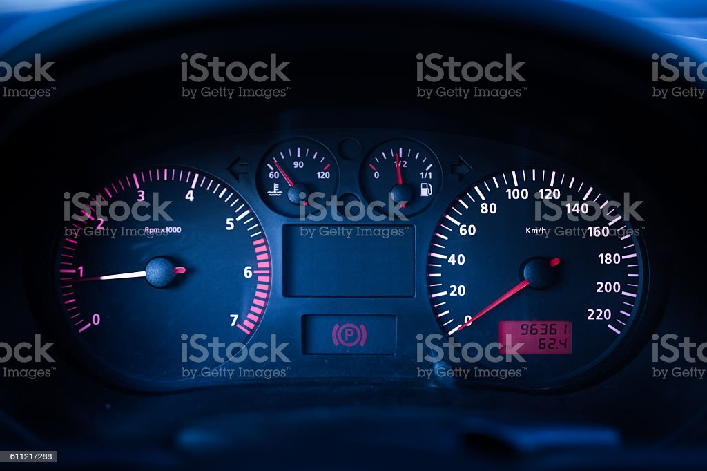 Modern car instrument dashboard stock photo