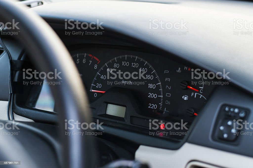 Modern car interior (color toned image) stock photo