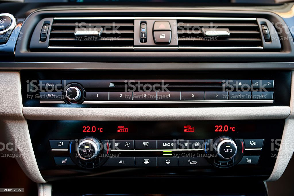 modern car interior with  close-up of air conditioning stock photo