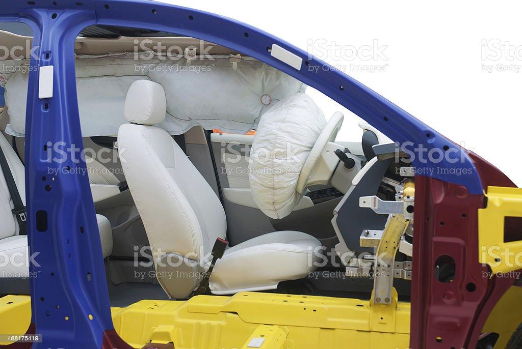 Modern car Showing Airbag inside, cut in half with path stock photo