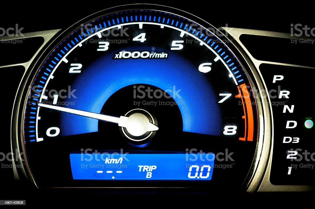 Modern car speedometer stock photo