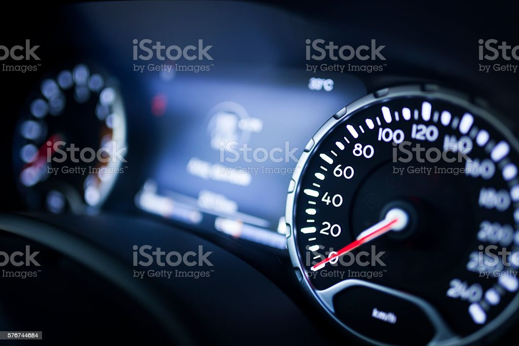 Modern Car Speedometer stock photo