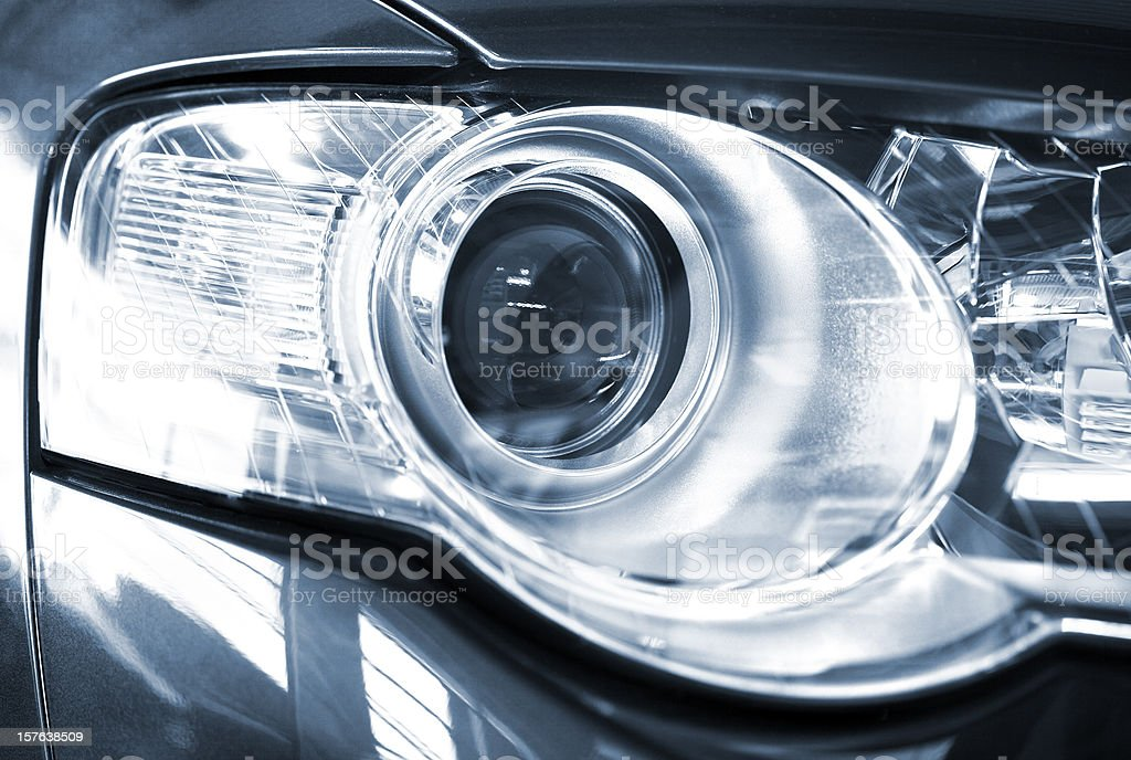 Modern car xenon headlight stock photo