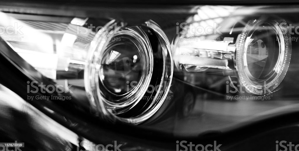 modern car xenon lights stock photo
