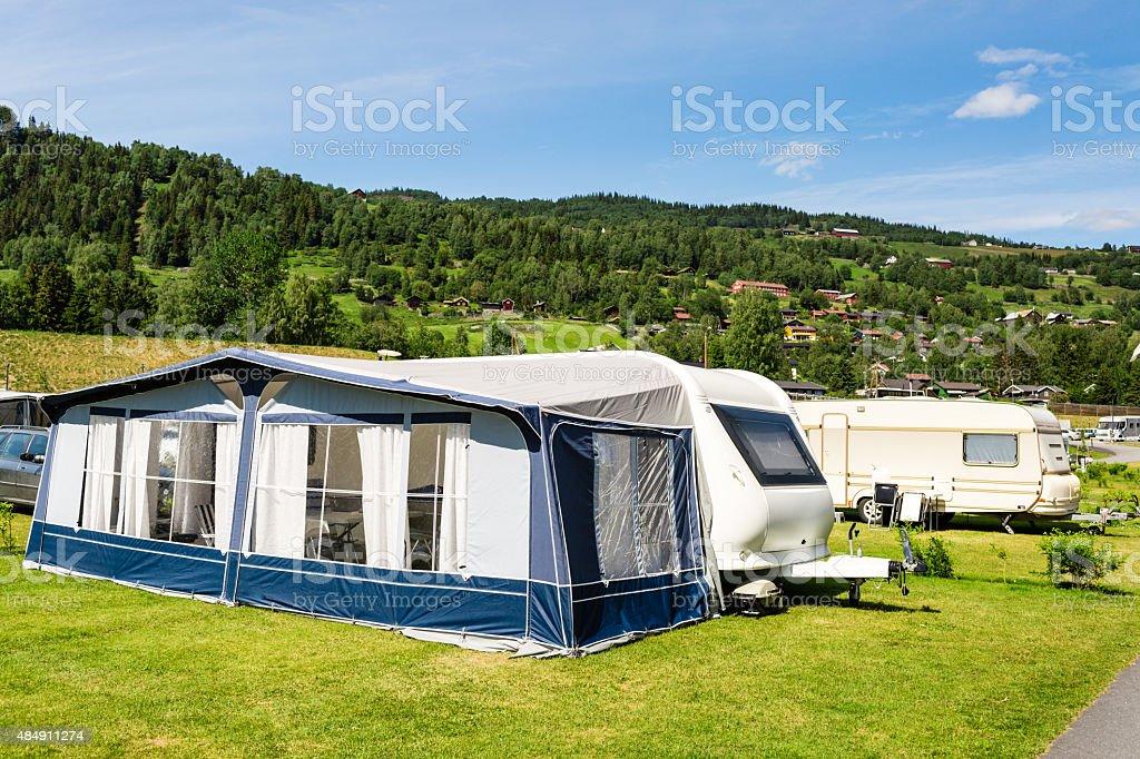 Modern caravan at camping site stock photo