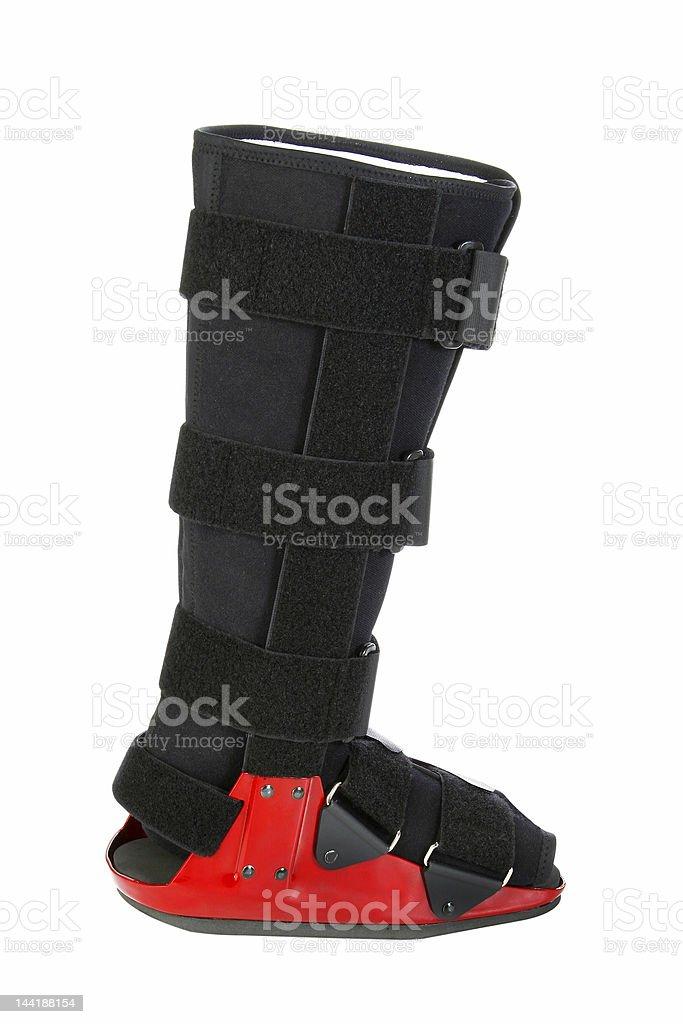Modern cast for a broken leg royalty-free stock photo