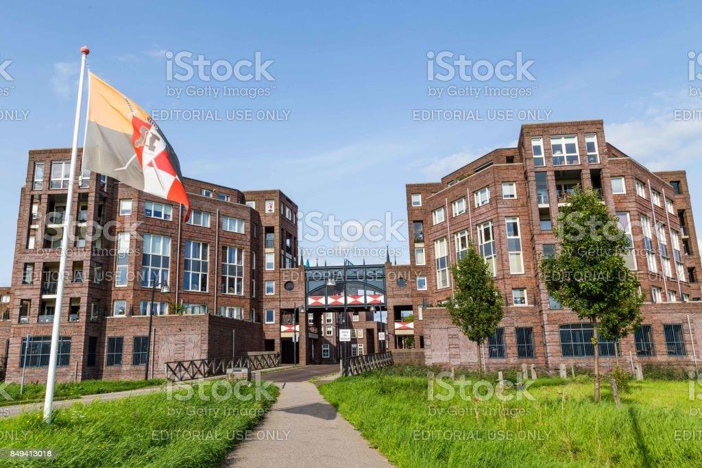 Modern castle housing complex in Den Bosch stock photo