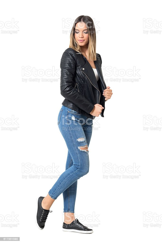 Modern casual fashion girl with ombre flamboyage hairstyle wearing jeans stock photo
