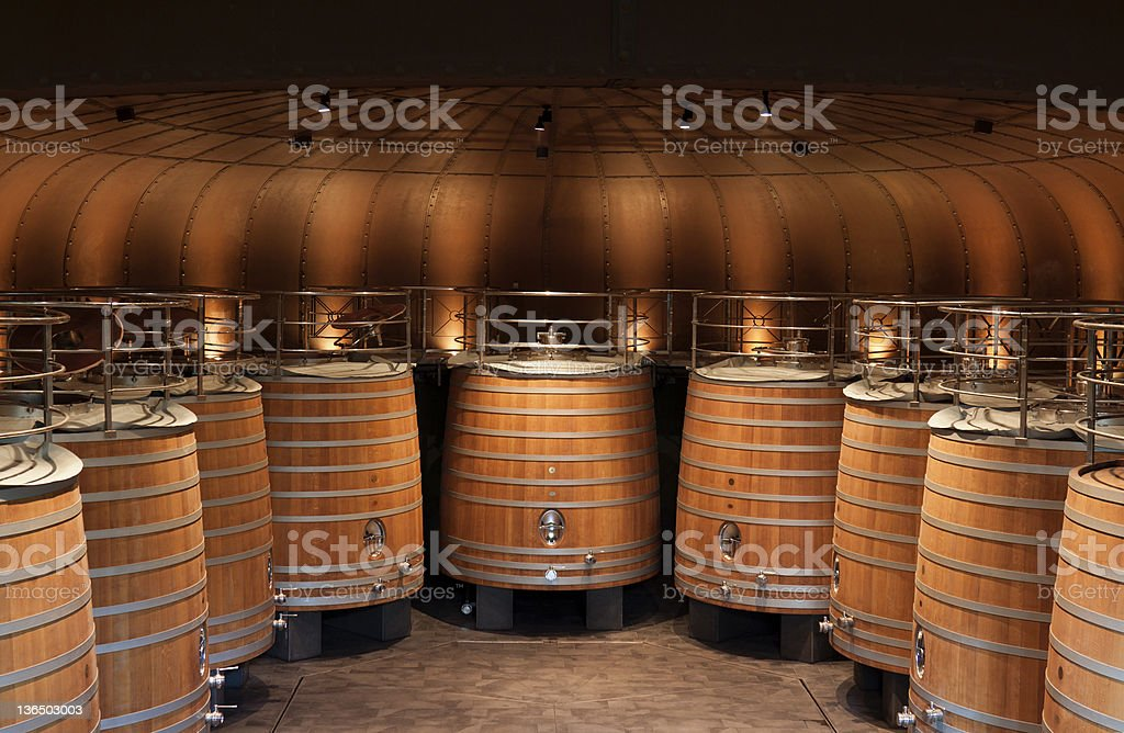 Modern cellar in La Rioja (Spain) stock photo