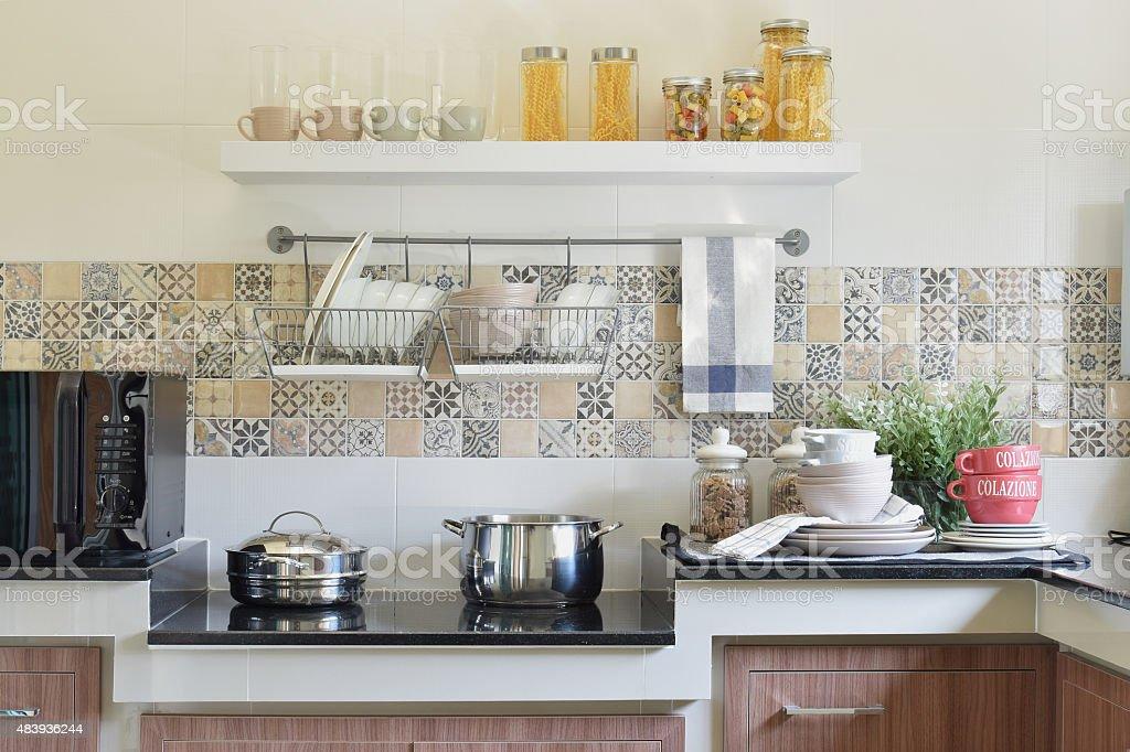 modern ceramic kitchenware and utensils stock photo