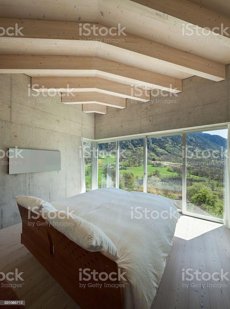 modern chalet, bedroom stock photo