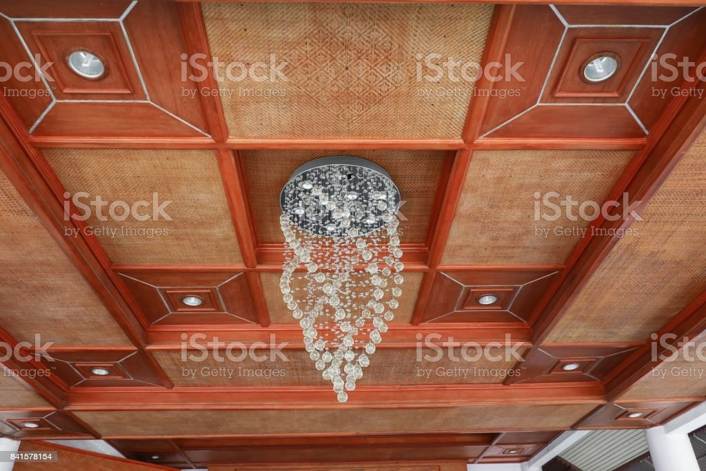 modern chandelier on ceiling bamboo weave beautiful stock photo