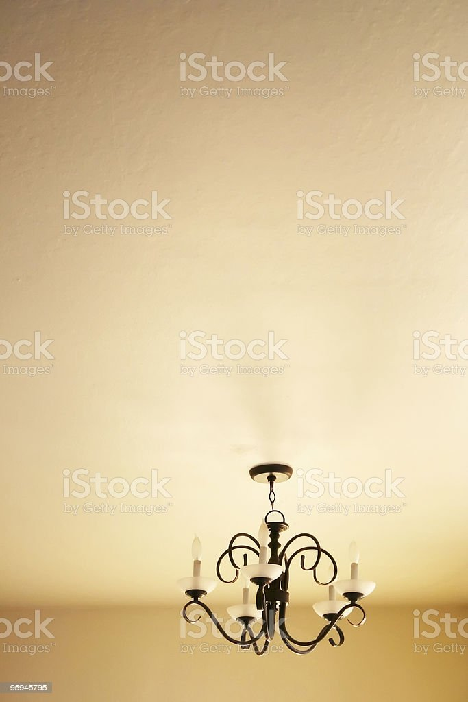 Modern Chandelier: Simple Ceiling Interior royalty-free stock photo
