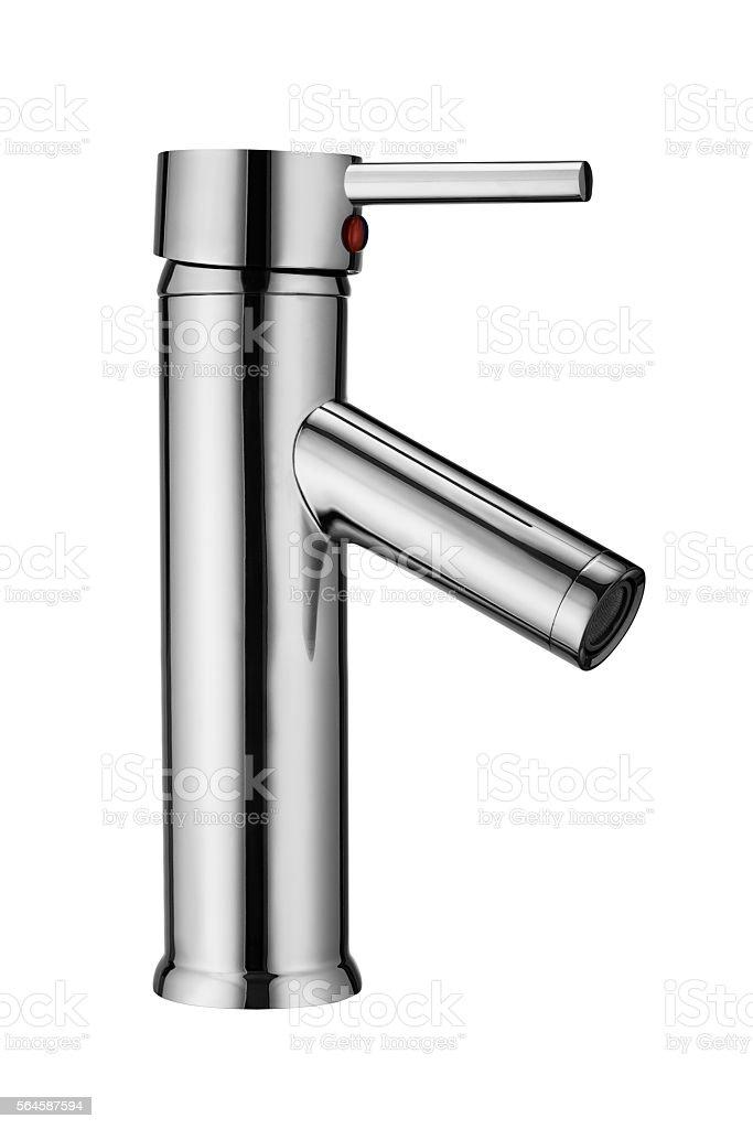Modern, chrome tap isolated on white stock photo