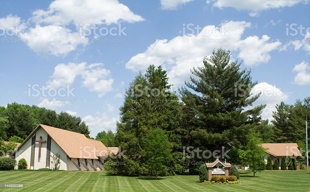 Modern Church A Frame Roof, Lawn, Trees, Blue Sky stock photo