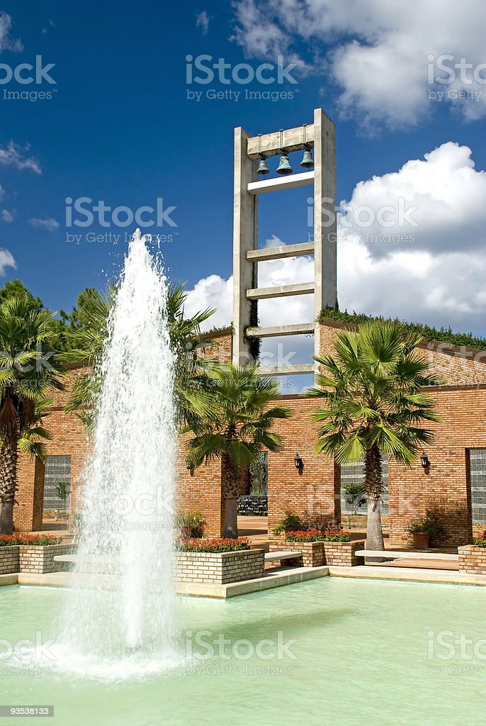 Modern Church Bell Tower and Fountain stock photo