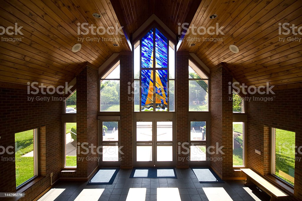 Modern Church Lobby with Stained Glass stock photo