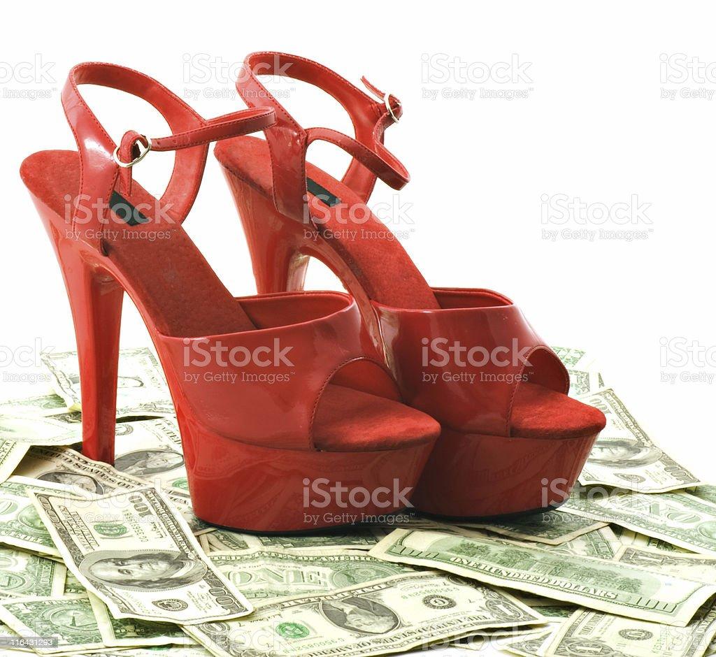 Modern Cinderella - High Heels and Money royalty-free stock photo