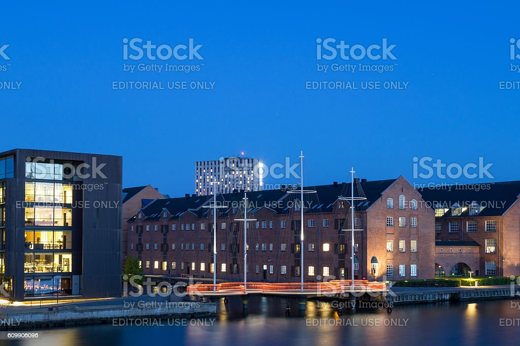 Modern Circle Bridge in Copenhagen stock photo