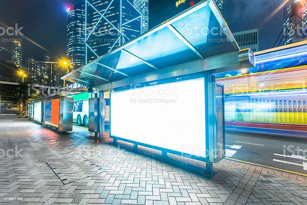 Modern city advertising light boxes in  hong kong stock photo