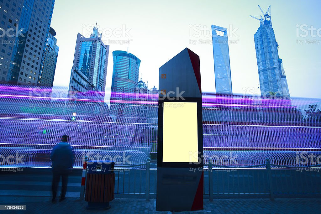 modern city advertising light boxes in shanghai royalty-free stock photo