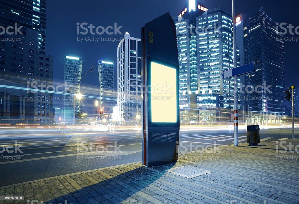 Modern city advertising light boxes stock photo