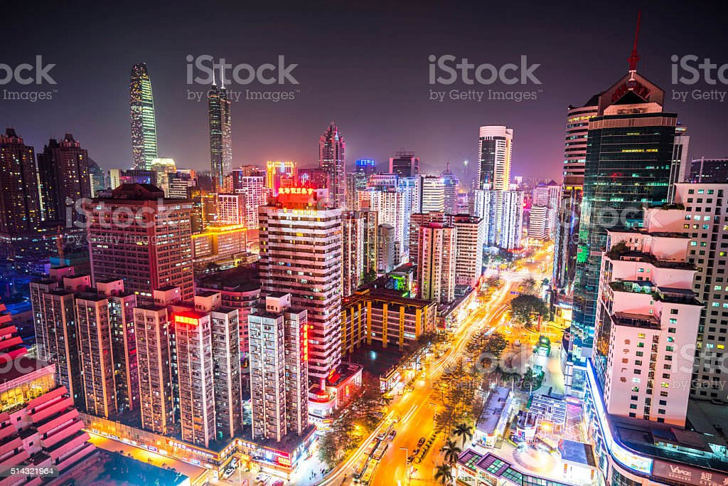 Modern City at Dusk,shenzhen stock photo