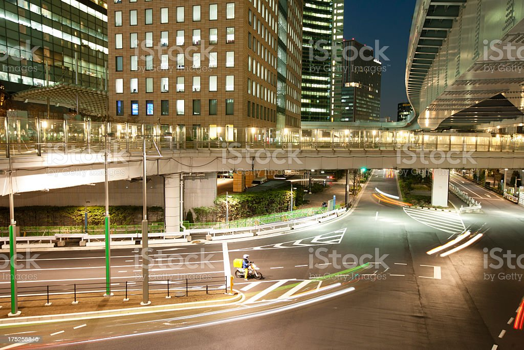 Modern city at night in Tokyo,shiodome royalty-free stock photo
